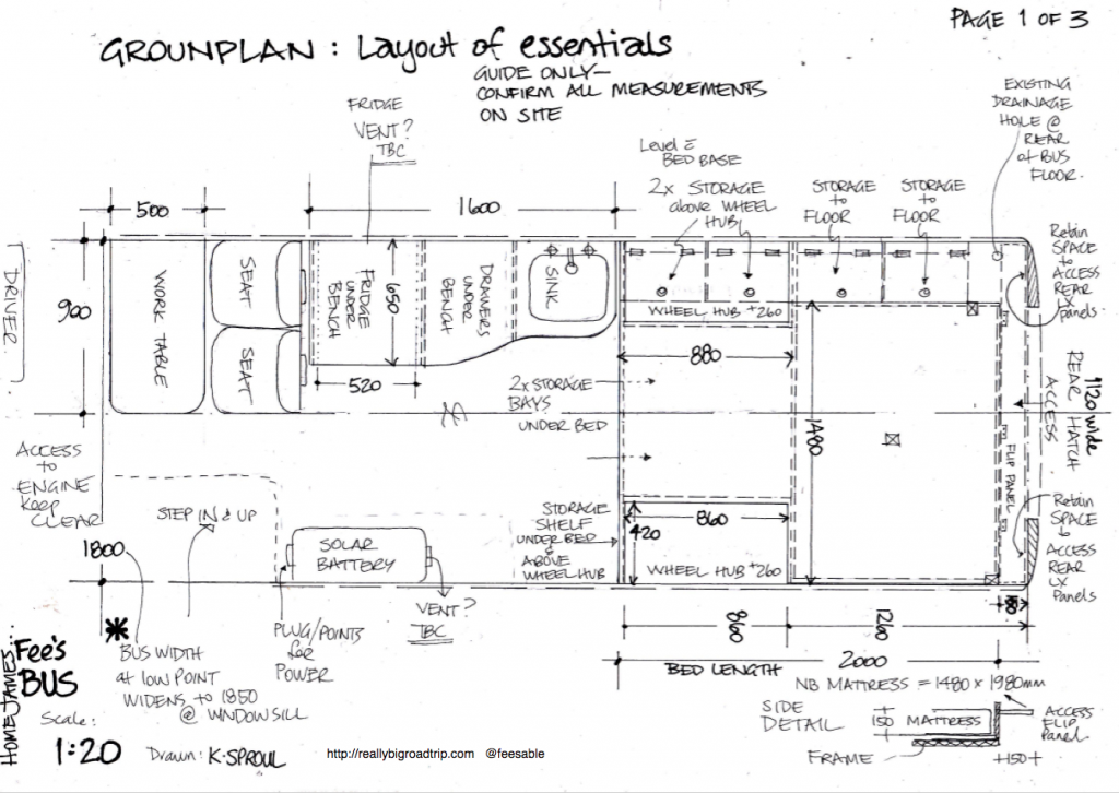 groundplan of bus drawn by Kathryn Sproul