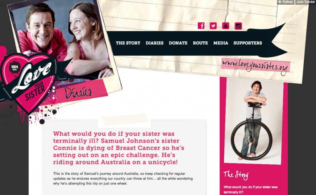 Samuel Johnson's campaign to unicycle around Australia to promote breast cancer awareness http://loveyoursister.org/