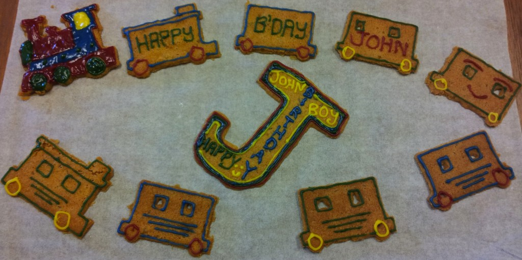 train cookies i made/decorated for a friend's birthday - not the bus version you'll be getting but similar!