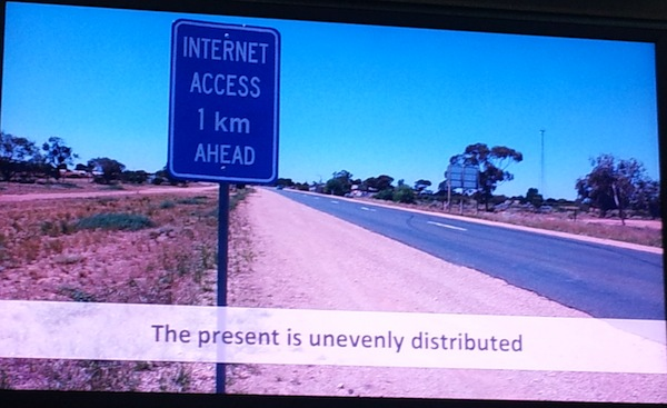 an apt slide from Genevieve Bell's talk with Ethan Zuckerman