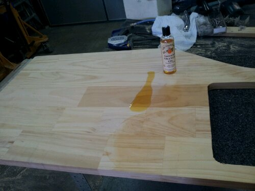 applying orange oil to benchtop... zomg, the smell!